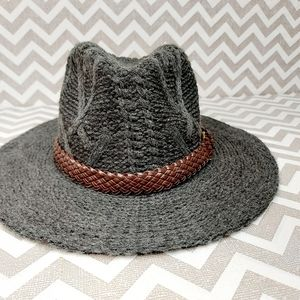 Gray woven knit hat with brim and braided detail